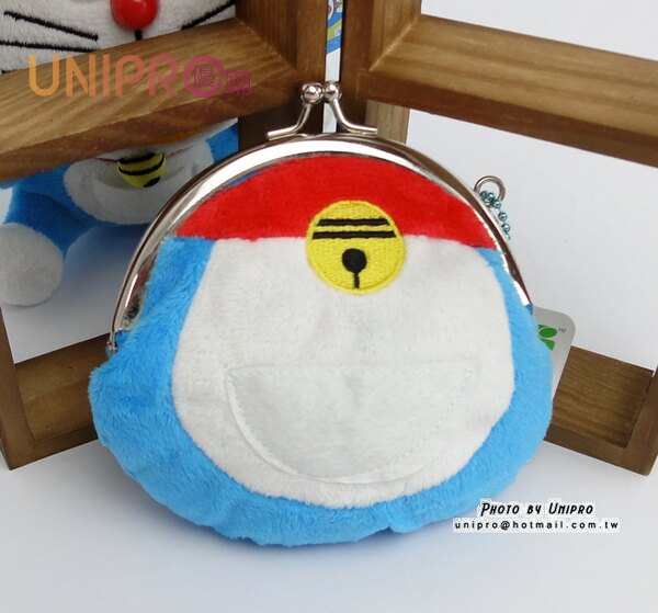 【UNIPRO】哆啦A夢 小叮噹 Doraemon 口袋 珠扣錢包造型 絨毛 零錢包