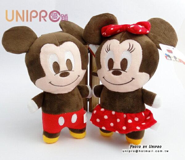 【UNIPRO】迪士尼 米奇 米妮 7吋 絨毛玩偶 造型長抱枕 娃娃 布偶 吊飾