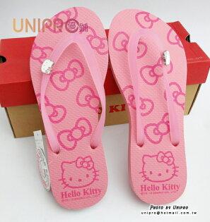 【UNIPRO】Hello Kitty 三麗鷗授權 鑽飾KT 人字拖 夾腳拖 拖鞋 海灘鞋 粉色 休閒鞋