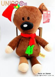 【UNIPRO】Mr. Bean Bear 豆豆熊 聖誕 絨毛娃娃 玩偶 咖啡熊 禮物 圍巾 12吋