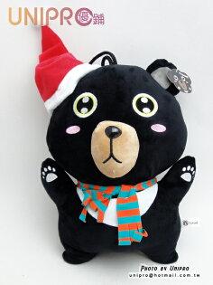 UNIPRO 聖誕吊飾12吋 聖誕 黑熊 Christmas 聖誕節 耶誕節 水汪汪眼睛 可愛 玩偶 絨毛娃娃