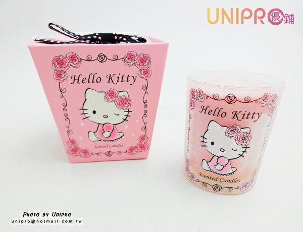 【UNIPRO】Hello Kitty 晨曦玫瑰麝香香氛蠟燭 凱蒂貓 送禮最佳的選擇