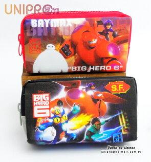 【UNIPRO】大英雄天團 Big Hero6 大拉鍊 大容量 BLINE 亮晶晶 筆袋 鉛筆盒 杯麵 BayMax