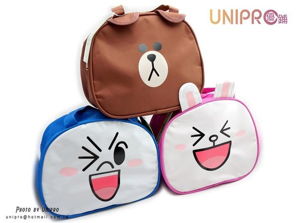 【UNIPRO】LINE FRIENDS 熊大 兔兔 饅頭人 表情 造型萬用袋 便當袋 購物袋