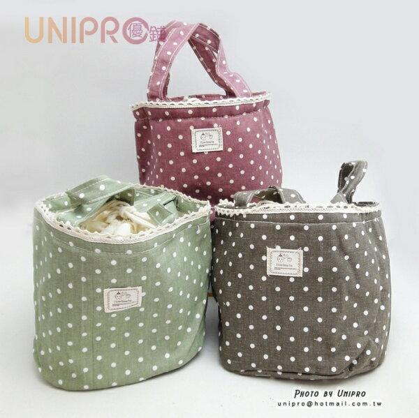 【UNIPRO】日系 束口保溫袋 點點 手提袋 便當袋 保溫袋 隔熱紙 保冷袋 正版授權