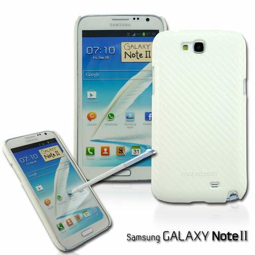 UNIPRO【N235】Metal-Slim Samsung Galaxy Note 2 N7100 卡夢紋 星砂 UV白 保護殼 手機套 送保護貼