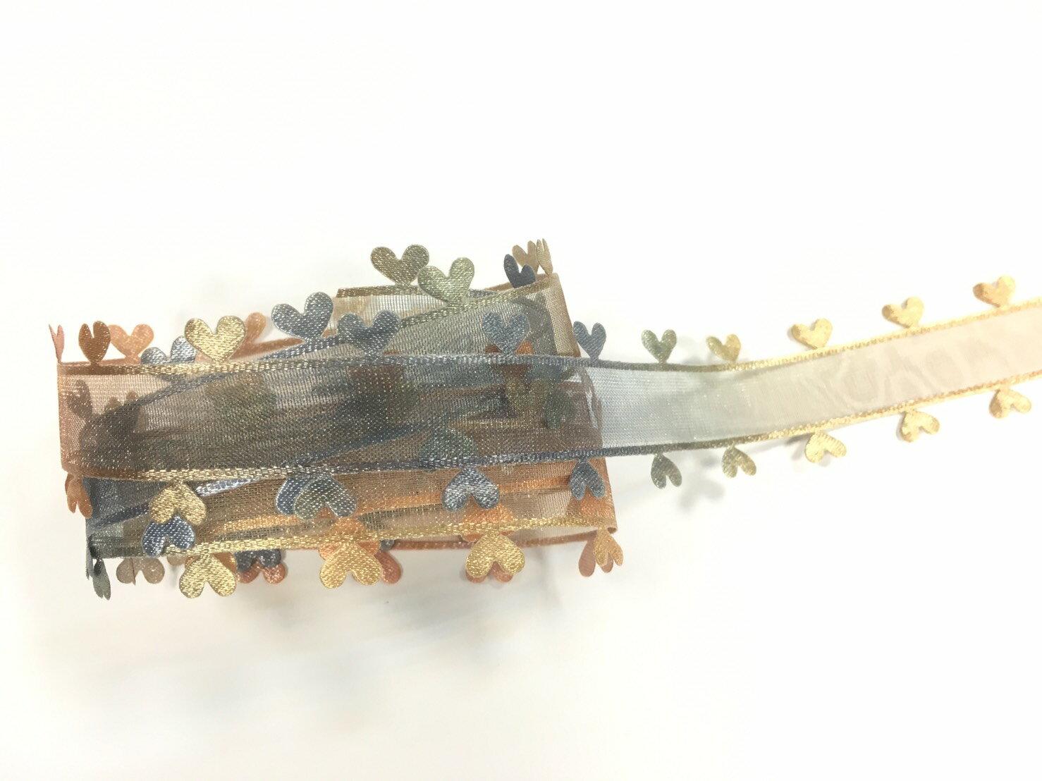 網紗漸層壓邊愛心緞帶 27mm 3碼 (6色) 2