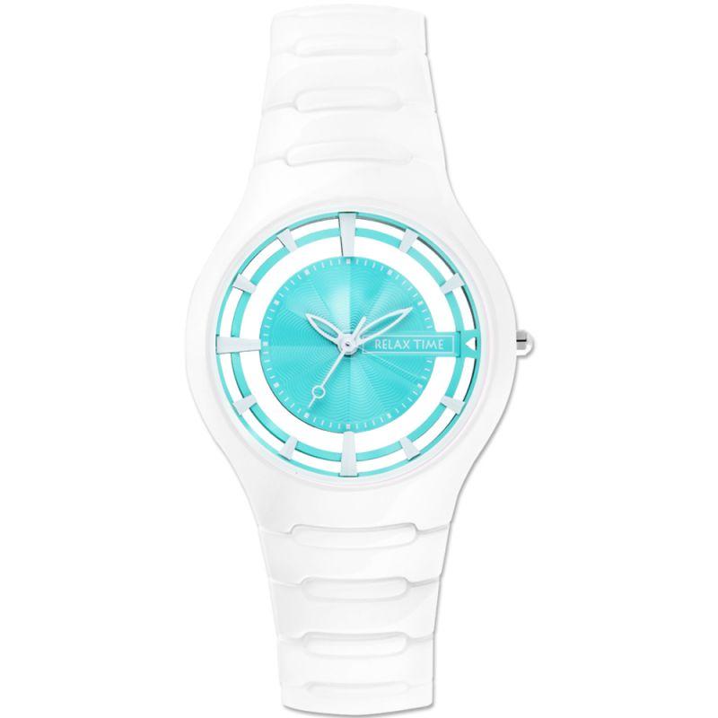Relax Time RT~57~8白綠鏤空陶瓷腕錶 綠面36.6mm ~  好康折扣