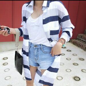 美麗大街~IR3916~甜美翻領條紋不規則中長款長袖襯衫
