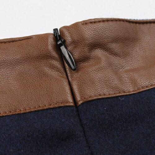 裙子 - 拼接皮革兩釦壓褶A字裙【23312】藍色巴黎《2色:M~L》現貨+預購 2