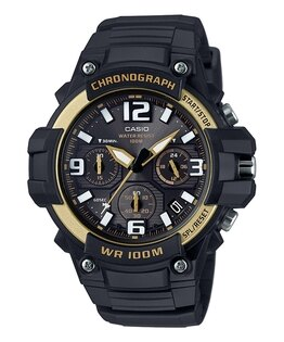 CASIO G-SHOCK MCW-100H-9A2 黑金大表面指針腕錶/黑49mm