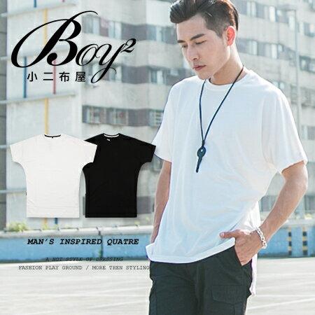☆BOY-2☆【KK5378】男裝寬長版前短後長素面短袖上衣 0