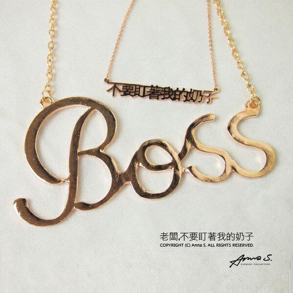 Anna S. 項鍊 嘻哈個性歐美街頭風 boss英文字母數字圖騰 韓劇明星款