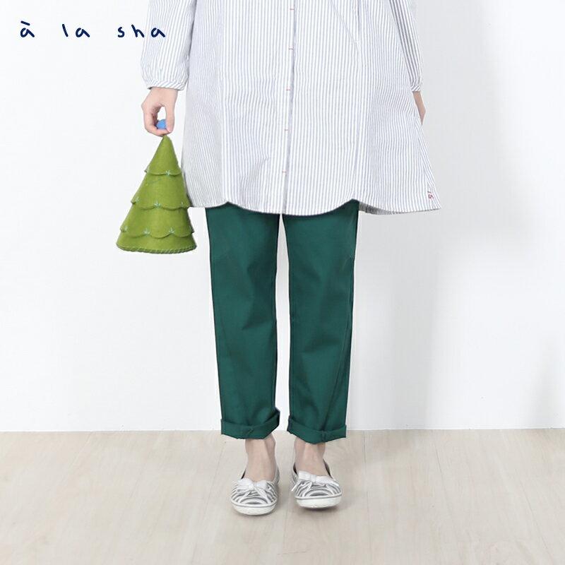 a la sha Qummi 斜紋圓點繡花口袋長褲 1