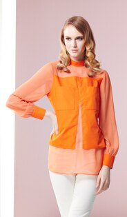 林廷芬服裝設計-Chloe- 絲綢拼接棉質布料胸前口袋設計長袖上衣