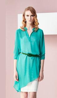 林廷芬服裝設計-Darcy-v- 多樣變化穿法湖水綠雪紡V領設計