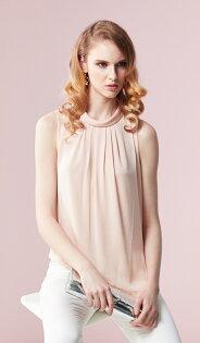 林廷芬服裝設計-Hanna- 絲質胸前抓皺無袖上衣