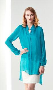 林廷芬服裝設計-Tahari-湖水綠前短後長絲質襯衫