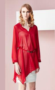 林廷芬服裝設計-Darcy-多樣變化穿法紅色雪紡V領設計