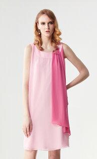 林廷芬服裝設計-Jamie Vari-亮麗配色顯瘦雪紡洋裝