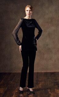 林廷芬服裝設計-Isabella-一字領設計雪紡拼接袖手工燙上施華洛世奇鑽點綴