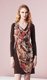 林廷芬服裝設計-Asha-v - 長袖側邊雪紡變化修是小腹針織洋裝