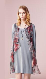 林廷芬服裝設計-Autumn- 花色設計雪紡荷葉飄逸長袖洋裝