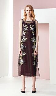 林廷芬服裝設計- Brenda-繡花烏干紗下擺開叉無袖長洋裝