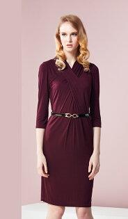 林廷芬服裝設計-Eva-v-V領胸前抓皺設計七分袖針織洋裝