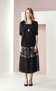 林廷芬服裝設計-Sarah-烏干紗黑色花紋長洋裝