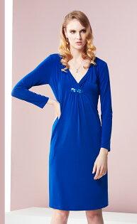 林廷芬服裝設計-Yvonne-寶藍色長袖針織洋裝