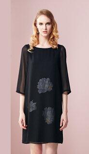 林廷芬服裝設計-Zoey-黑色雪紡搭配印花設計七分袖洋裝