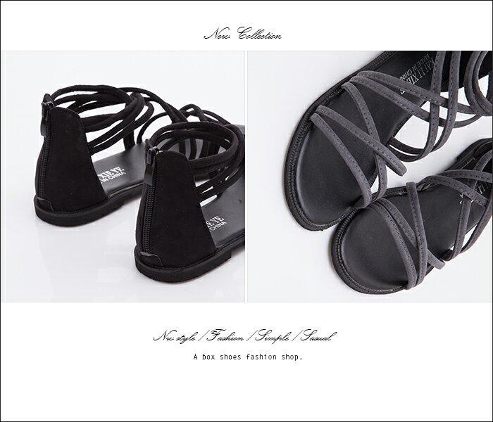 格子舖*【AS118】嚴選時尚性感羅馬風 高質感絨布材質 繞帶羅馬涼鞋 2色 2