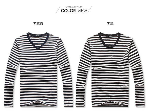 ☆BOY-2☆【NQ96023】男裝 粗條紋V領長袖T恤 1