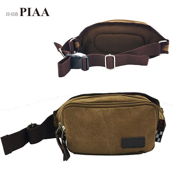 85~8028~PIAA 皮亞~咖啡色帆布胸背 腰包 ~  好康折扣