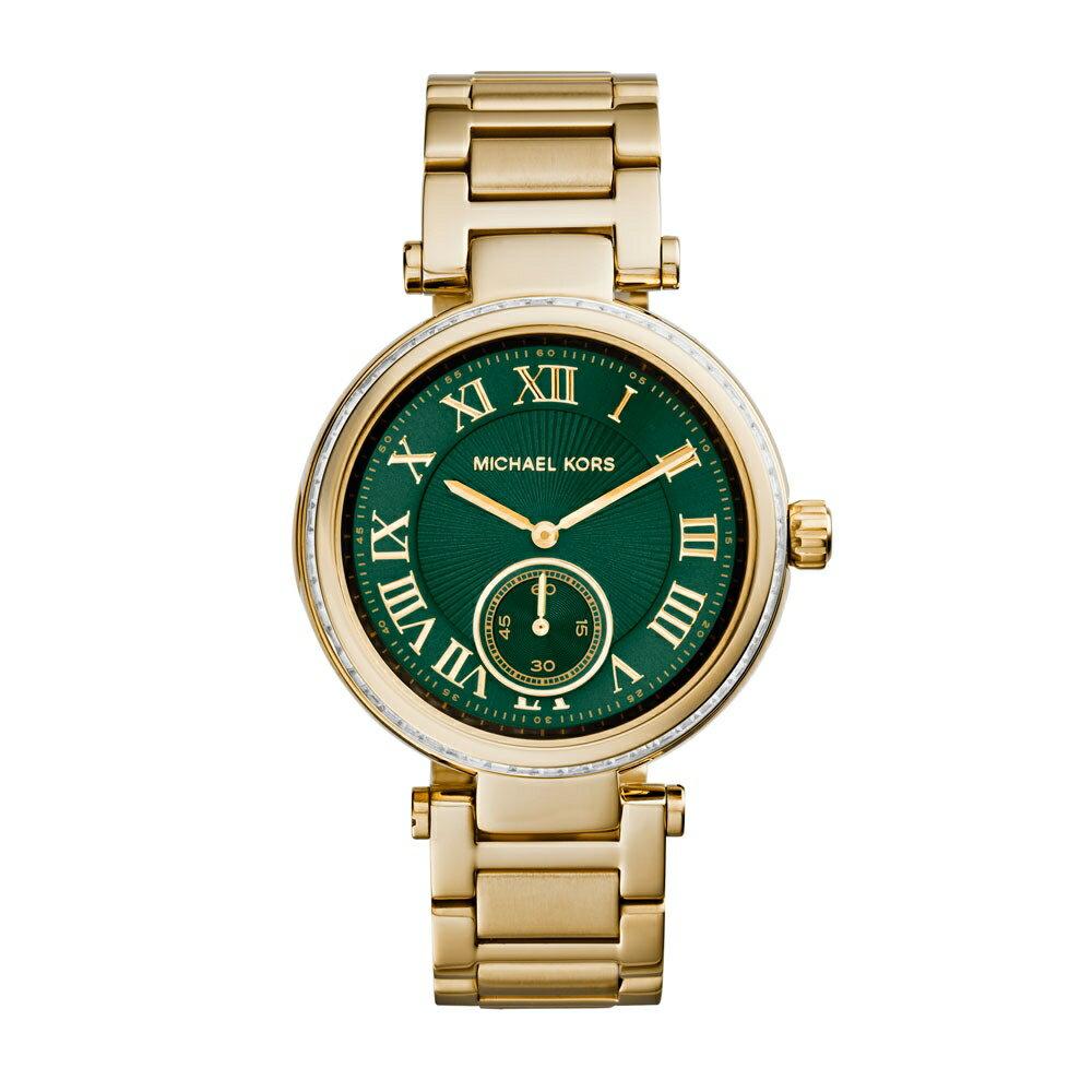 美國Outlet正品代購 MichaelKors MK 復古羅馬鑲鑽馬腦綠  陶瓷  三環 手錶 腕錶 MK6065 1