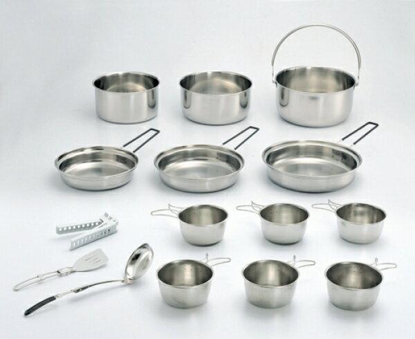 【大山野營】中和 台灣製造 文樑 ST-2015 豪華鍋具組 露營炊具 不鏽鋼鍋具 不鏽鋼碗 煎盤
