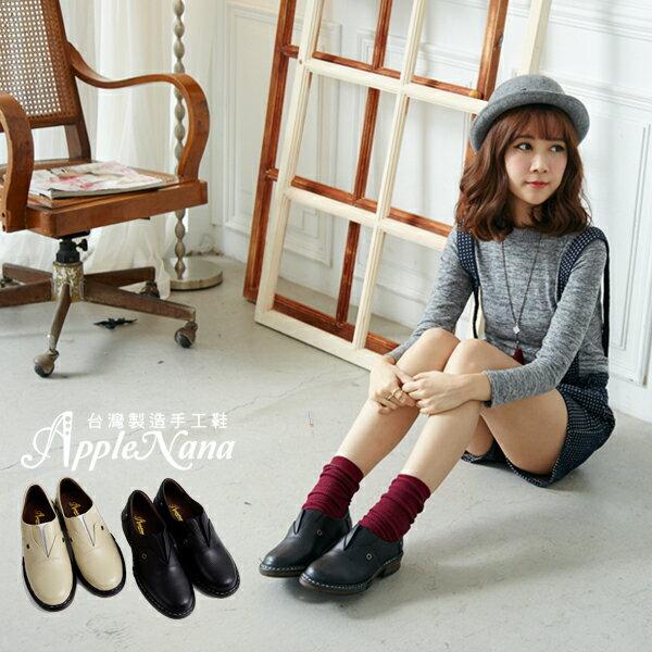 AppleNana。我愛金惠珍。她很漂亮復古氣墊圓頭平底鞋【QT17061580】蘋果奈奈 1
