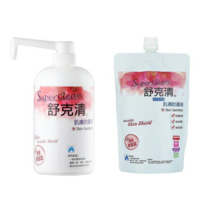 Sclean舒克清 - 肌膚防護液 按壓瓶 1L + 補充包 600ml 超值組 - 限時優惠好康折扣