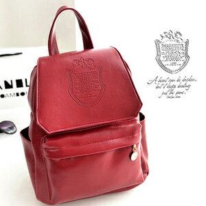 ( 包飾衣院 shape ) 日系學院經典圖騰亮皮後背包。/手提後背包【P1011】現貨