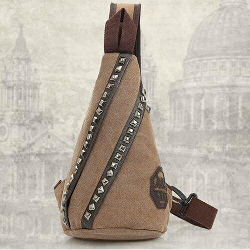 三角錐大鉚釘封泥印復古帆布背包 胸包  P1367 包飾衣院 現貨