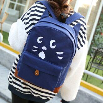 後背包 萌寵物語可愛貓咪喵耳朵後背包 帆布學生書包  包飾衣院 P1390