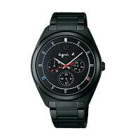 agnès b.到agnes b V14J-0CG0K(BT5011P1)太陽能巴黎時尚雙日曆腕錶/黑面40mm