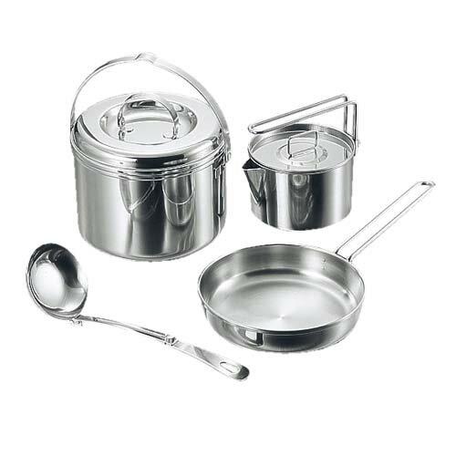 【露營趣】中和 Captain Stag 鹿牌 M-8603 3層鋼鍋具組S 套鍋 麵鍋 湯鍋 煮米鍋 煎盤 平底鍋 茶壺鍋 茶壺