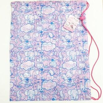 Hello Kitty 三麗鷗 束口袋 肩掛 環保袋 收納袋 出遊 運動 居家 39元 正版日本進口 JustGirl