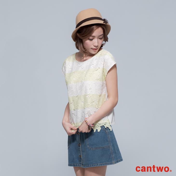 cantwo鏤空雙色條紋蕾絲上衣(共三色) 1