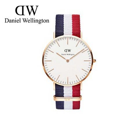 瑞典正品代購 Daniel Wellington 0103DW 玫瑰金 尼龍 帆布錶帶 手錶腕錶 40MM