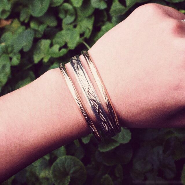 【現貨商品】【Indian Jewelry】印地安圖騰刻印鍍14K金手鐲(Navajo-054-10141) 0
