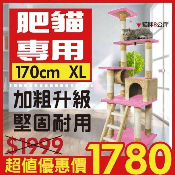 凱莉小舖【KF8208】胖貓專用→加粗9CM劍麻柱超穩固豪華貓跳台/貓籠/貓窩/貓玩具