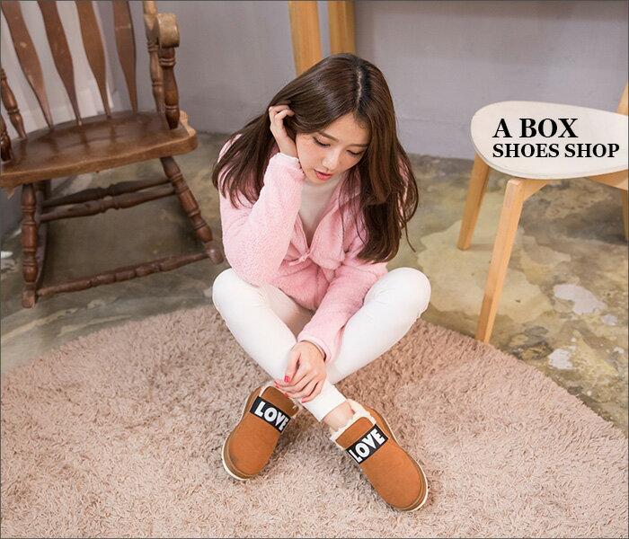 格子舖*【KR801】簡約LOVE英文字母 素面麂皮保暖厚毛料 防滑膠底短筒雪靴 雪地靴 3色 2
